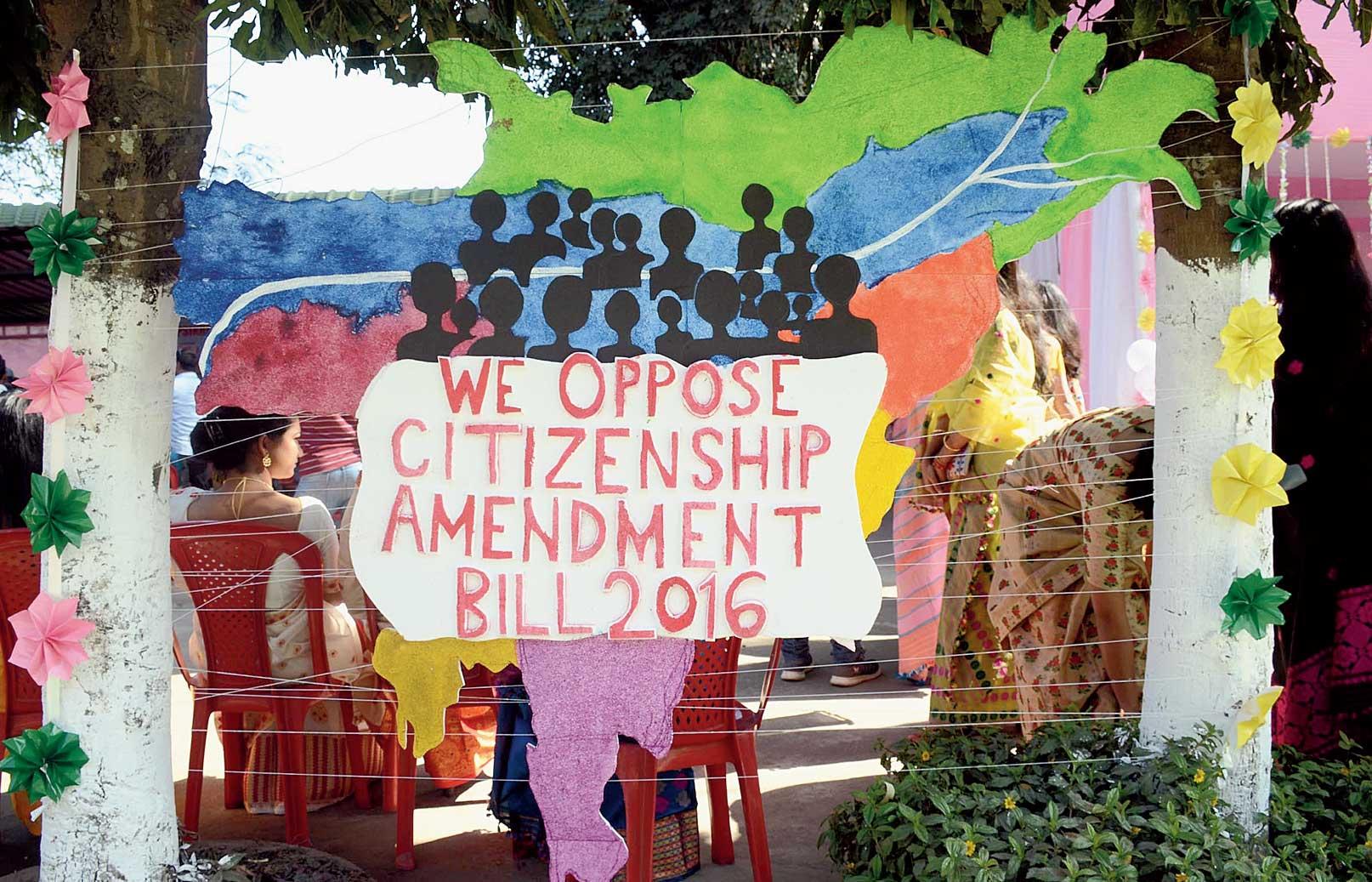 The decoration at the Saraswati Puja celebration at Cotton University in Guwahati on Sunday opposing the citizenship bill.
