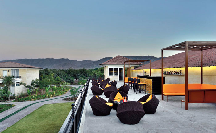 Panorama, the rooftop bar and lounge that offers a stunning view of the Aravallis