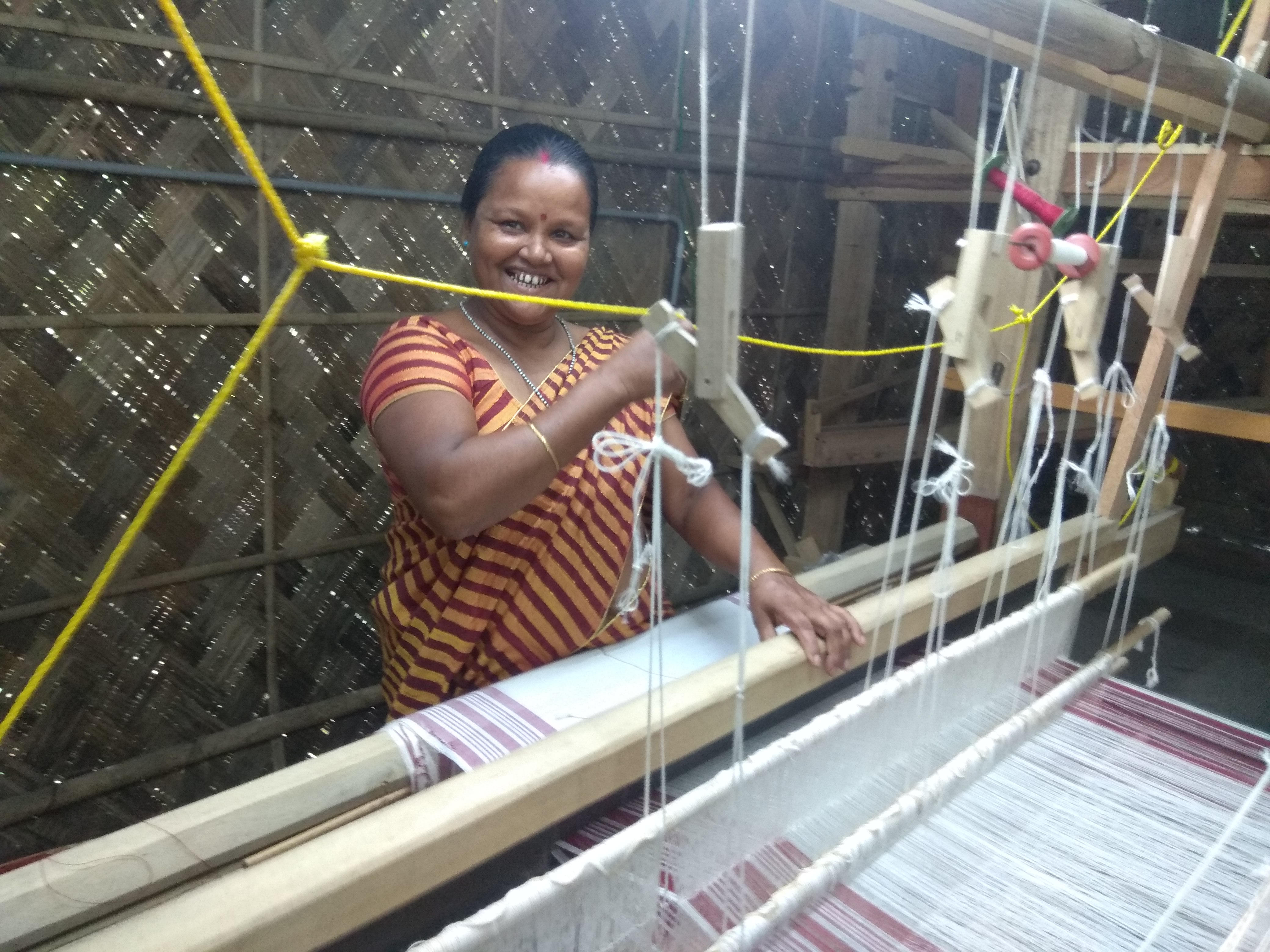 Namita Das from Assam has been weaving since she was a teenager but she only wove for self consumption. It was only after joining the Antaran centre that she realised she could actually sell and earn money
