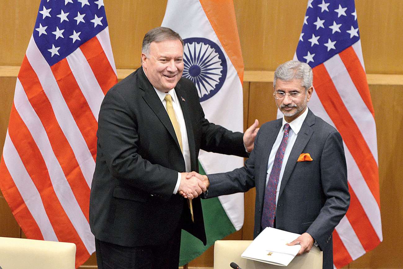 US secretary of state Mike Pompeo (left) with Indian foreign minister S. Jaishankar in New Delhi on Wednesday