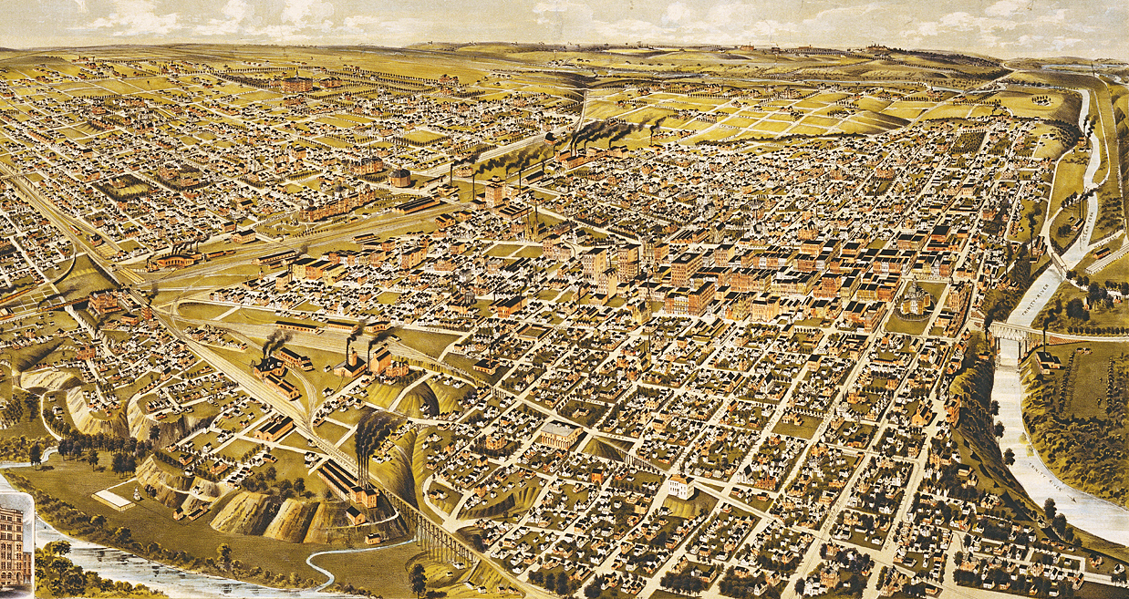 Perspective Map of Fort Worth, 1891