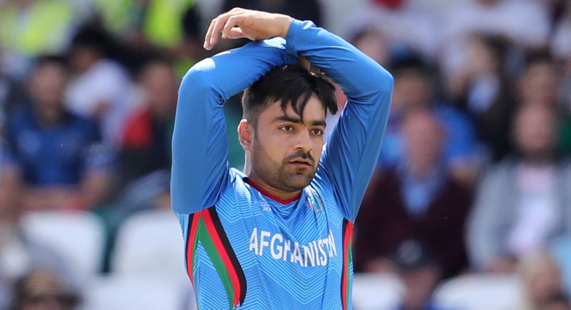 Rashid Khan during the ICC Cricket World Cup match between Afghanistan and West Indies at Headingley in Leeds, England, on July 4, 2019.