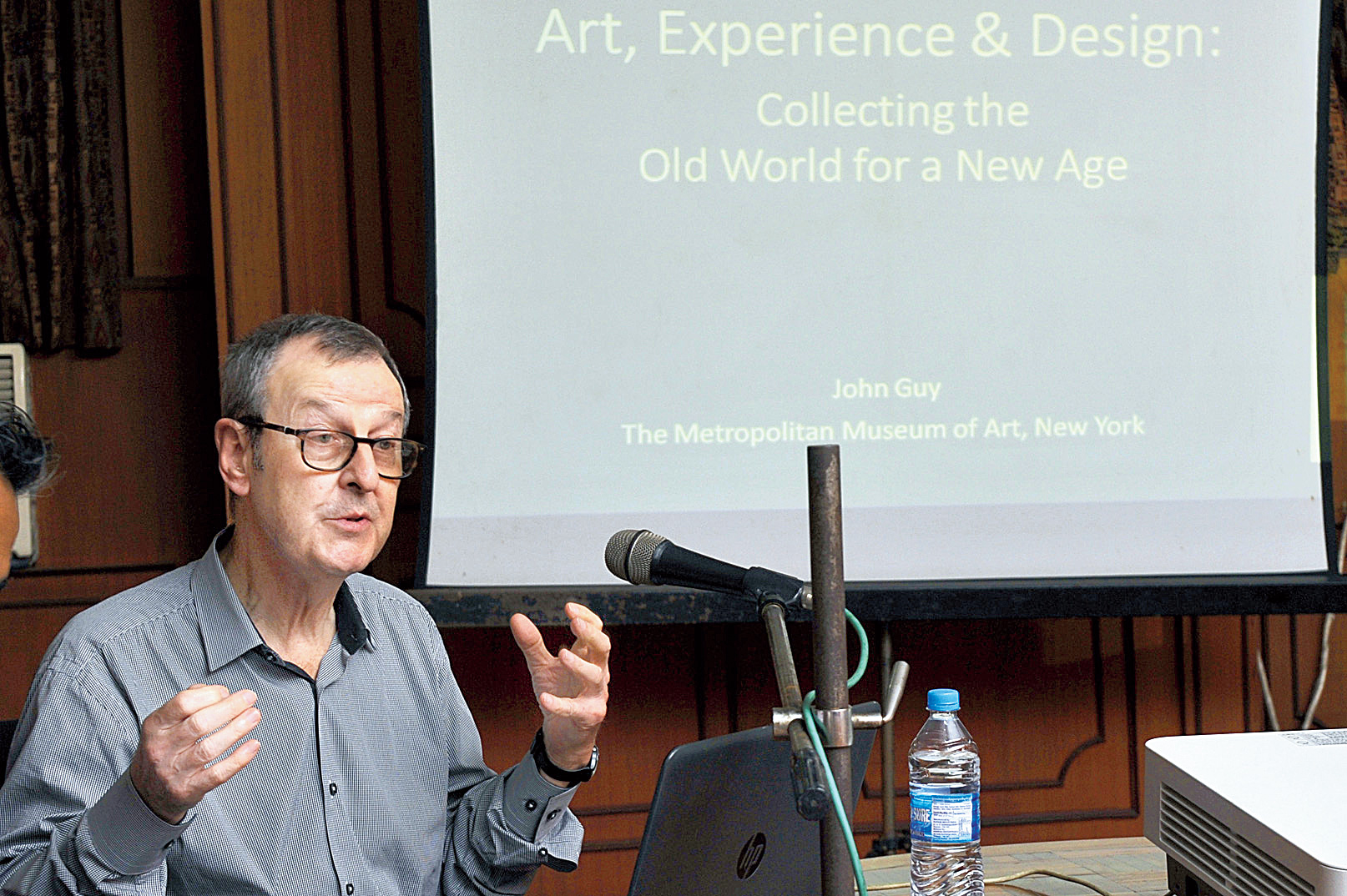 John Guy delivers a lecture on Collecting the Past: Old World-New Age at Indian Museum on Thursday.