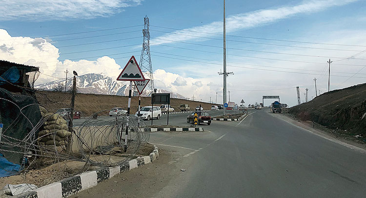 Where the country road from Pulwama enters the national highway