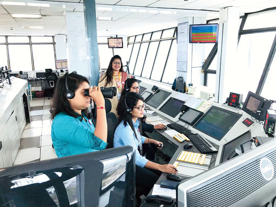 The all-woman team manning the control tower
