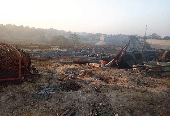 The razed structures in Adityapur, Jamshedpur, on Friday.