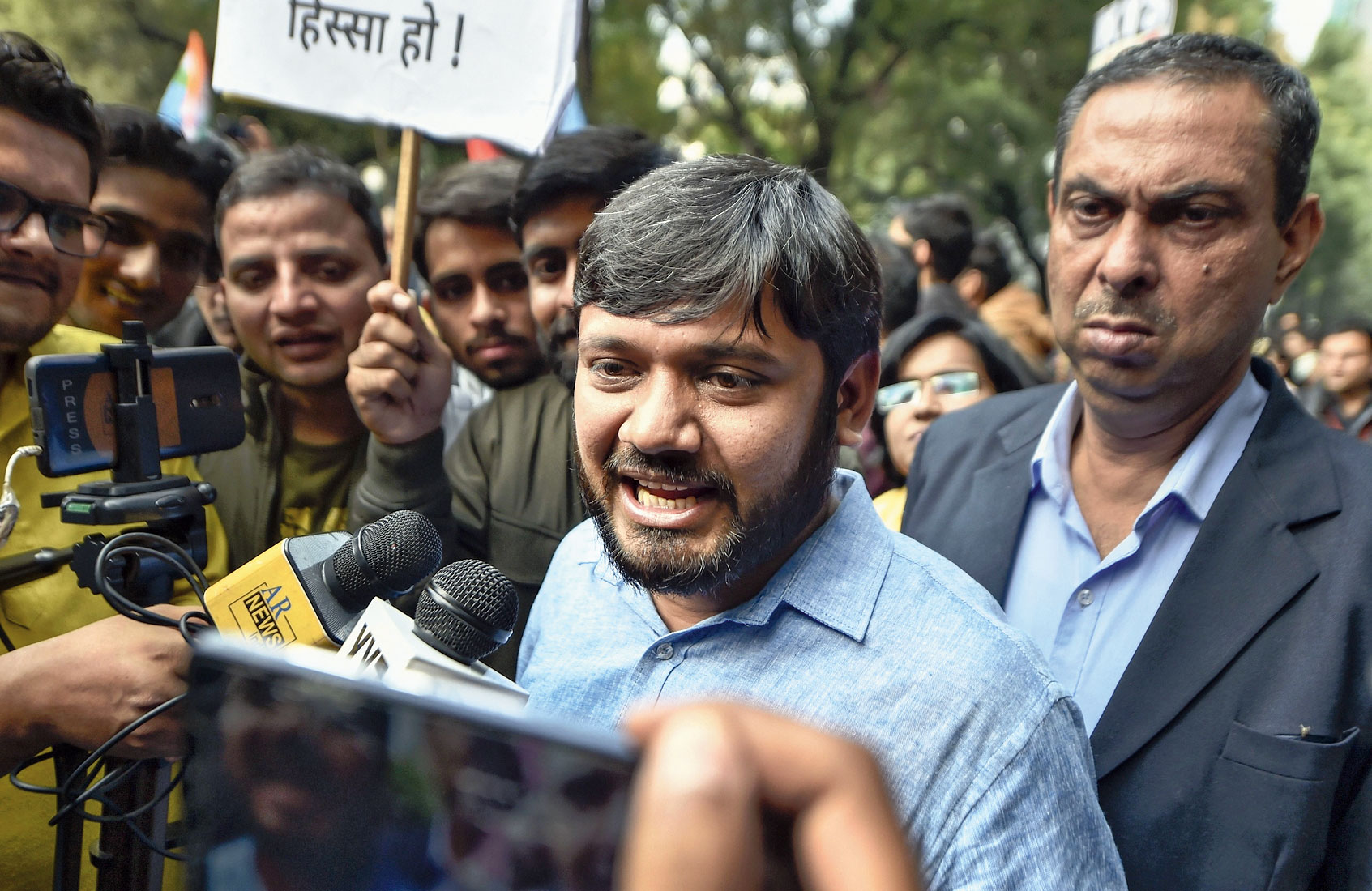 JNU former president Kanhaiya Kumar at the protest in New Delhi.
