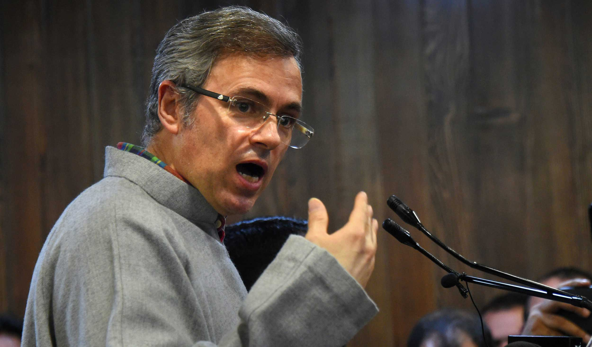 National Conference vice-president Omar Abdullah addresses a party function in Srinagar on Thursday.