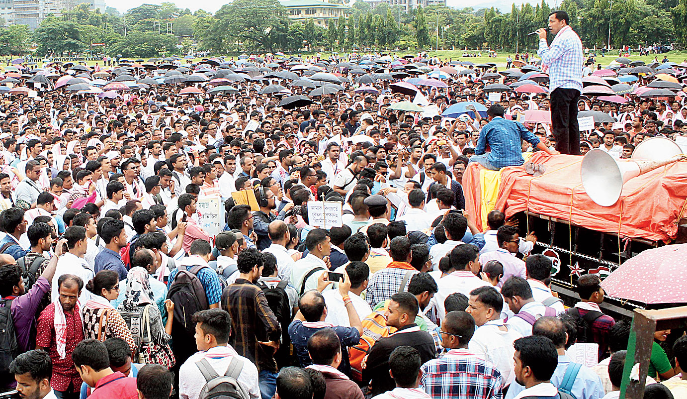 A sea of contractual TET teachers protests in Guwahati on Saturday.