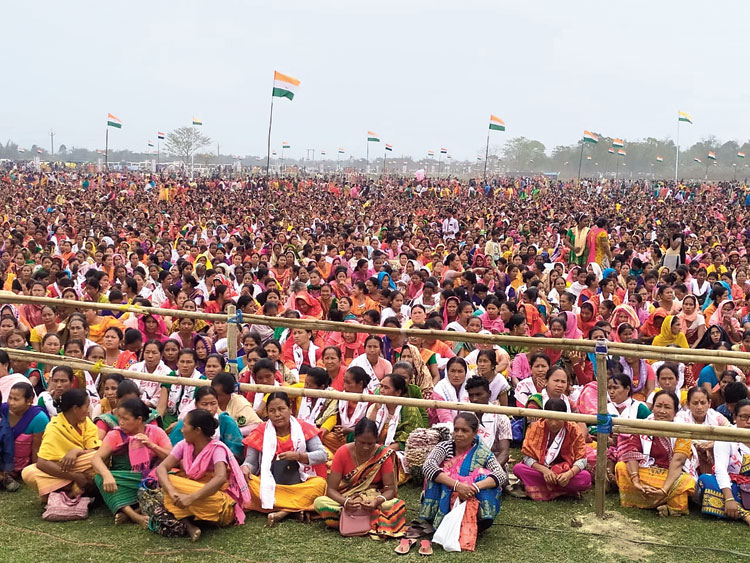 The gathering at the rally in Bishmuri in Assam's Kokrajhar district on Tuesday