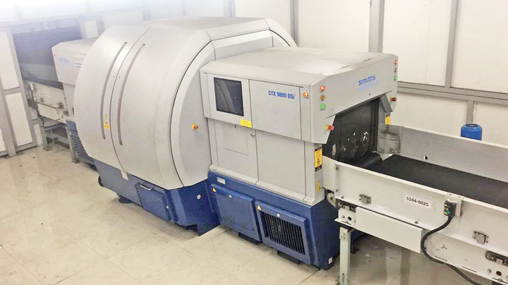 The inline baggage screening machine with computed tomography technology