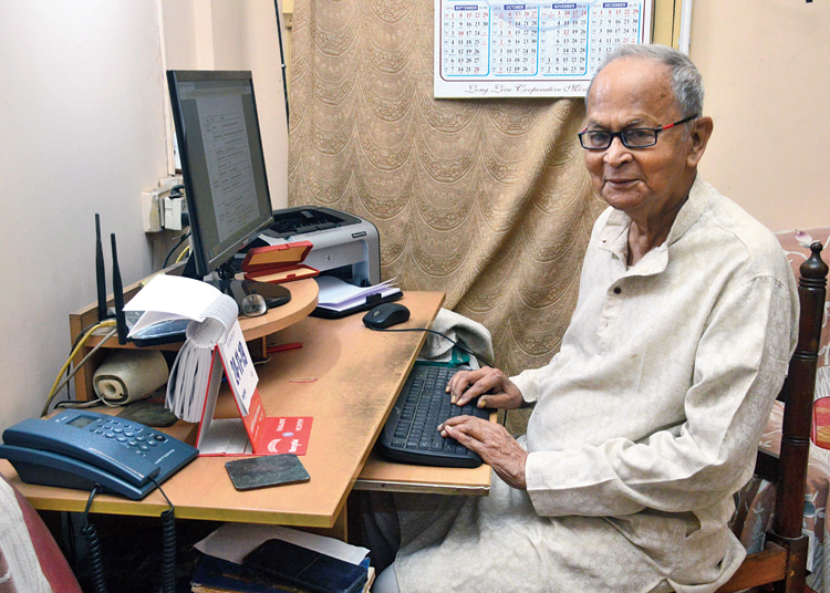 Bhattacharjee types out letters and takes printouts