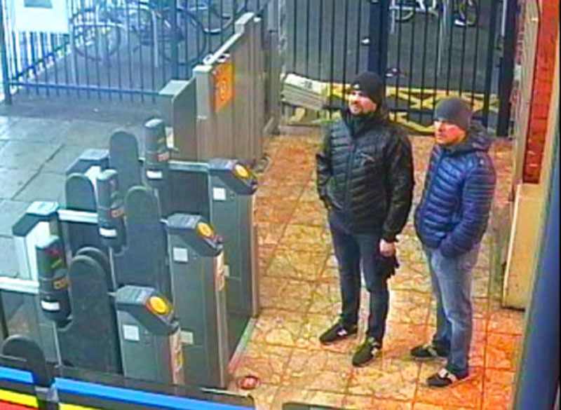 This still taken from CCTV and issued by the Metropolitan Police shows Ruslan Boshirov and Alexander Petrov at Salisbury train station on March 3, 2018.
