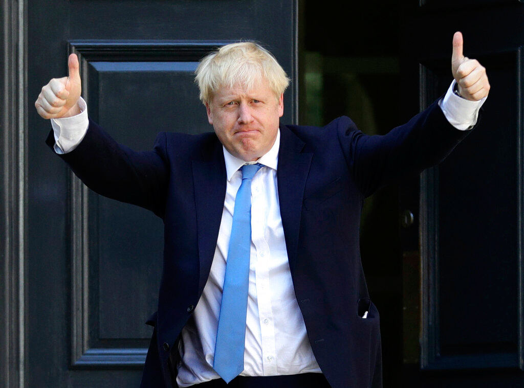 Boris Johnson at the party headquarters in central London on Tuesday