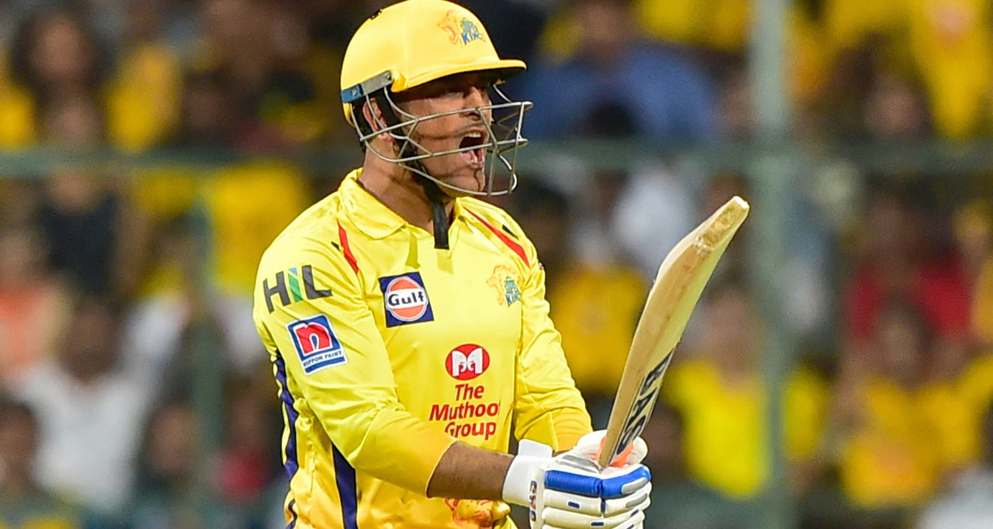MS Dhoni reacts during the Indian Premier League 2019 cricket match between Royal Challengers Bangalore (RCB) and Chennai Super Kings (CSK)   at Chinnaswamy Stadium in Bengaluru on Sunday, April 21, 2019.