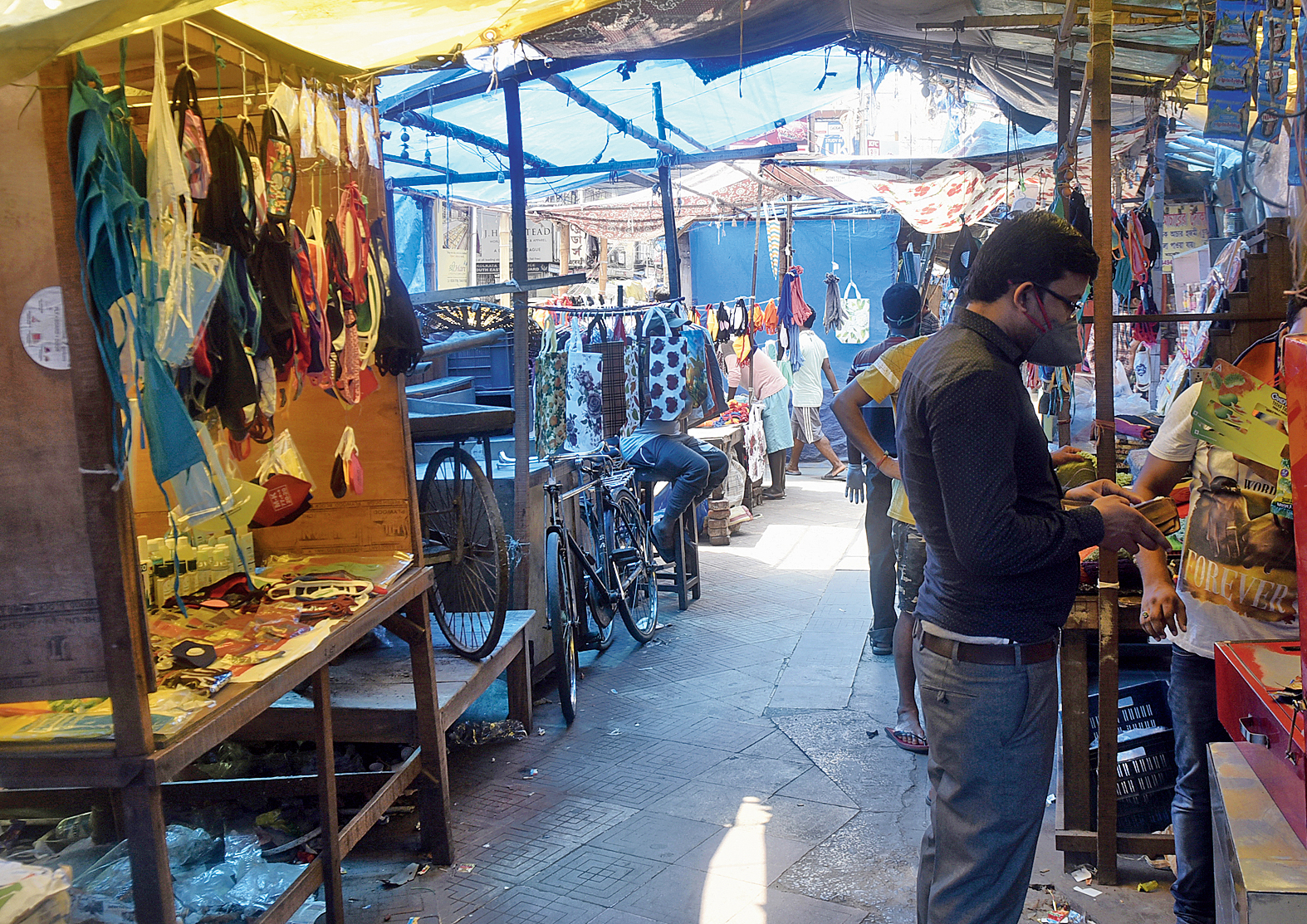 Some of the stalls in Gariahat that opened on Monday.