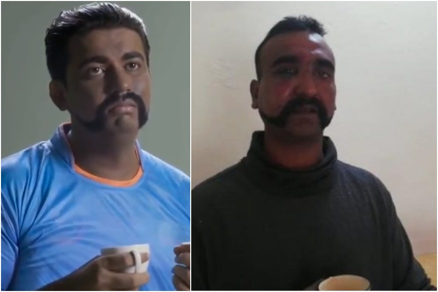 (Left) The actor in the Pakistan ad; Wing Commander Abhinandan Varthaman