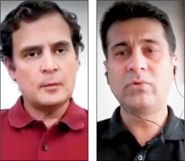Rahul Gandhi and Rajiv Bajaj during the video conversation