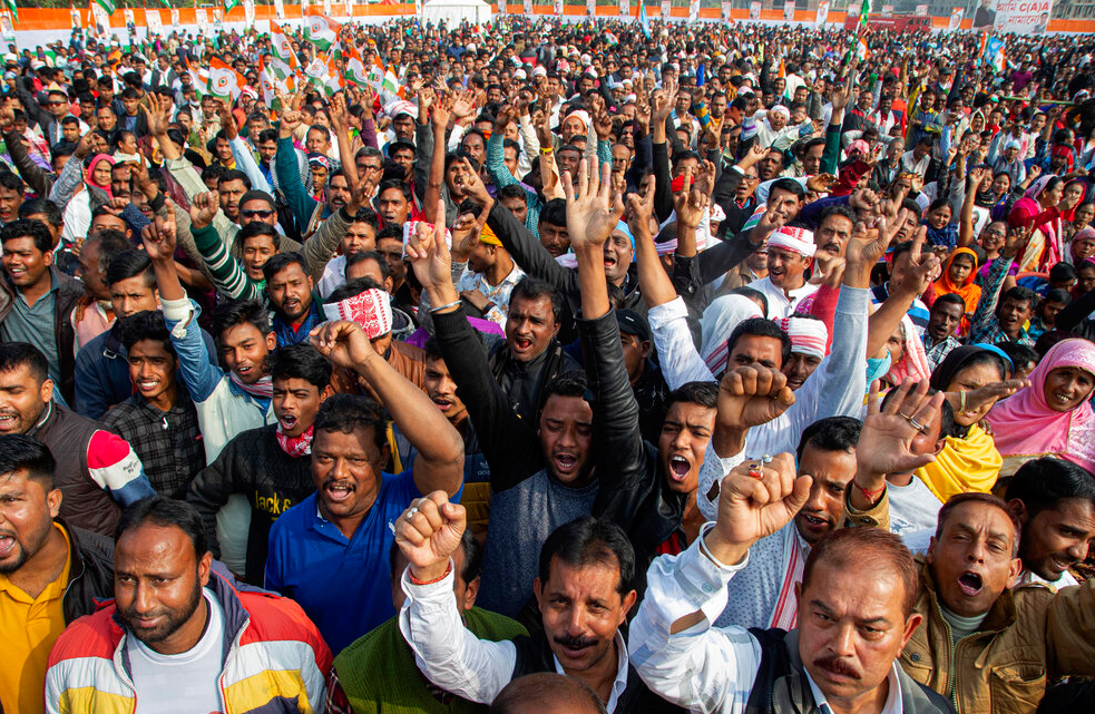 Congress party activists shout slogans at a rally against the Citizenship Amendment Act in Guwahati, Saturday, December 28, 2019.