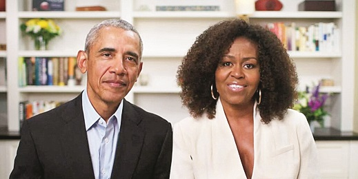 Barack and Michelle Obama addressing the audience at the YouTube event, 'Dear Class of 2020'.