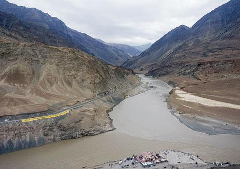 The confluence of rivers Indus and Zanskar near Leh, Ladakh