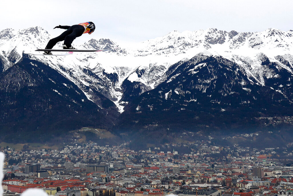 Ryoyu Kobayashi of Japan soars through the air during the trial round of the 68th four hills ski jumping tournament in Innsbruck, Austria, on January 3