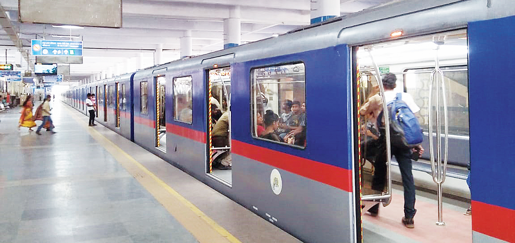 An air-conditioned rake of Metro Railway at Dum Dum station.