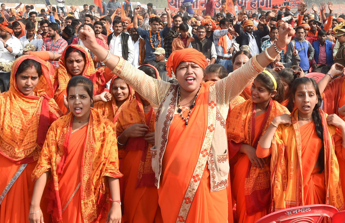 Participants in the 'Dharam Sabha' organised by the Vishwa Hindu Parishad, which is pushing for construction of the Ram temple, in Ayodhya, on Sunday, November 25, 2018.