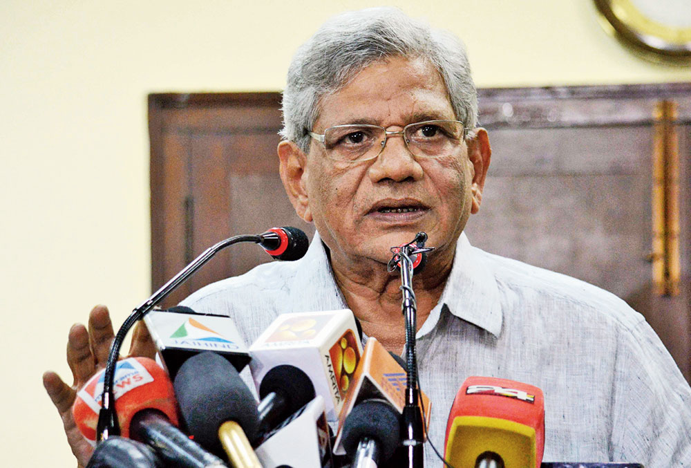 File picture of Sitaram Yechury at a news conference in New Delhi.