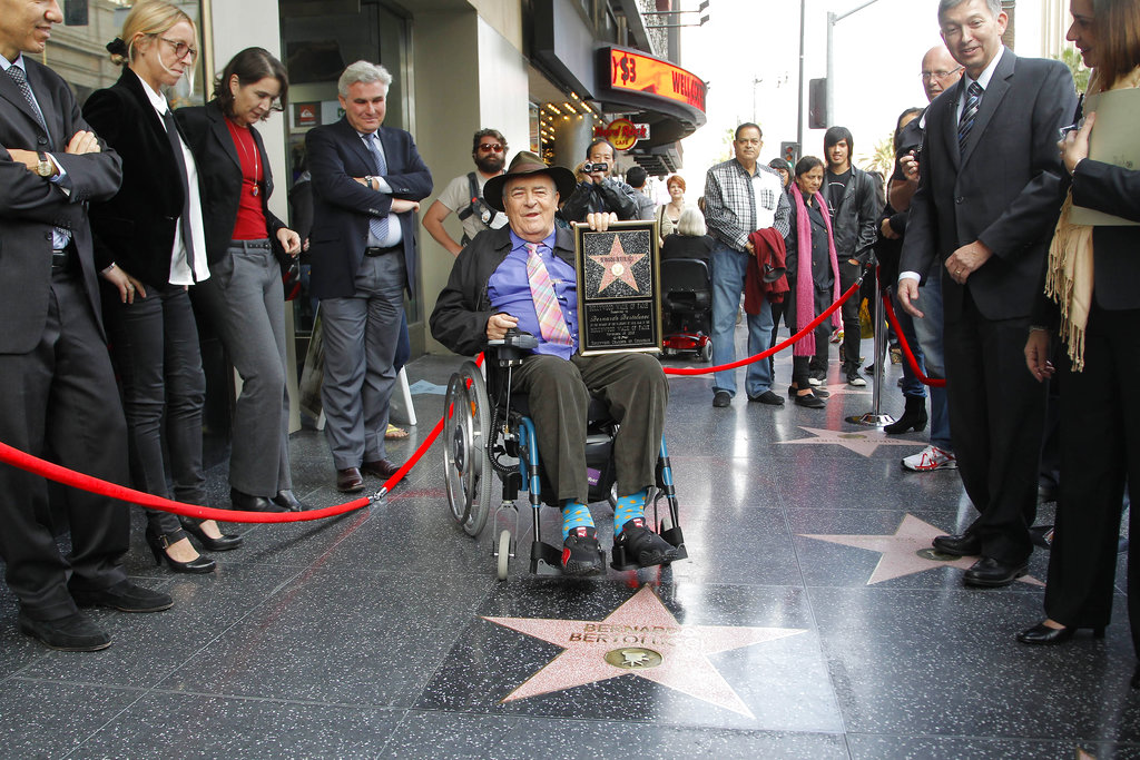 Bertolucci makes makes a rare visit to his star on the Hollywood Walk of Fame, in Los Angeles.