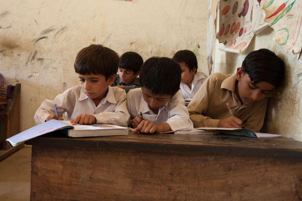 Children studying at a school in Thatta, Sindh, Pakistan