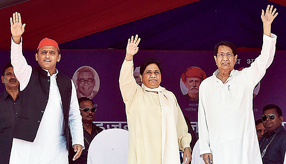 (From left) Samajwadi Party chief Akhilesh Yadav, Bahujan Samaj Party supremo Mayawati and RLD chief Ajit Singh during their joint election campaign rally in Firozabad, on April 20, 2019.