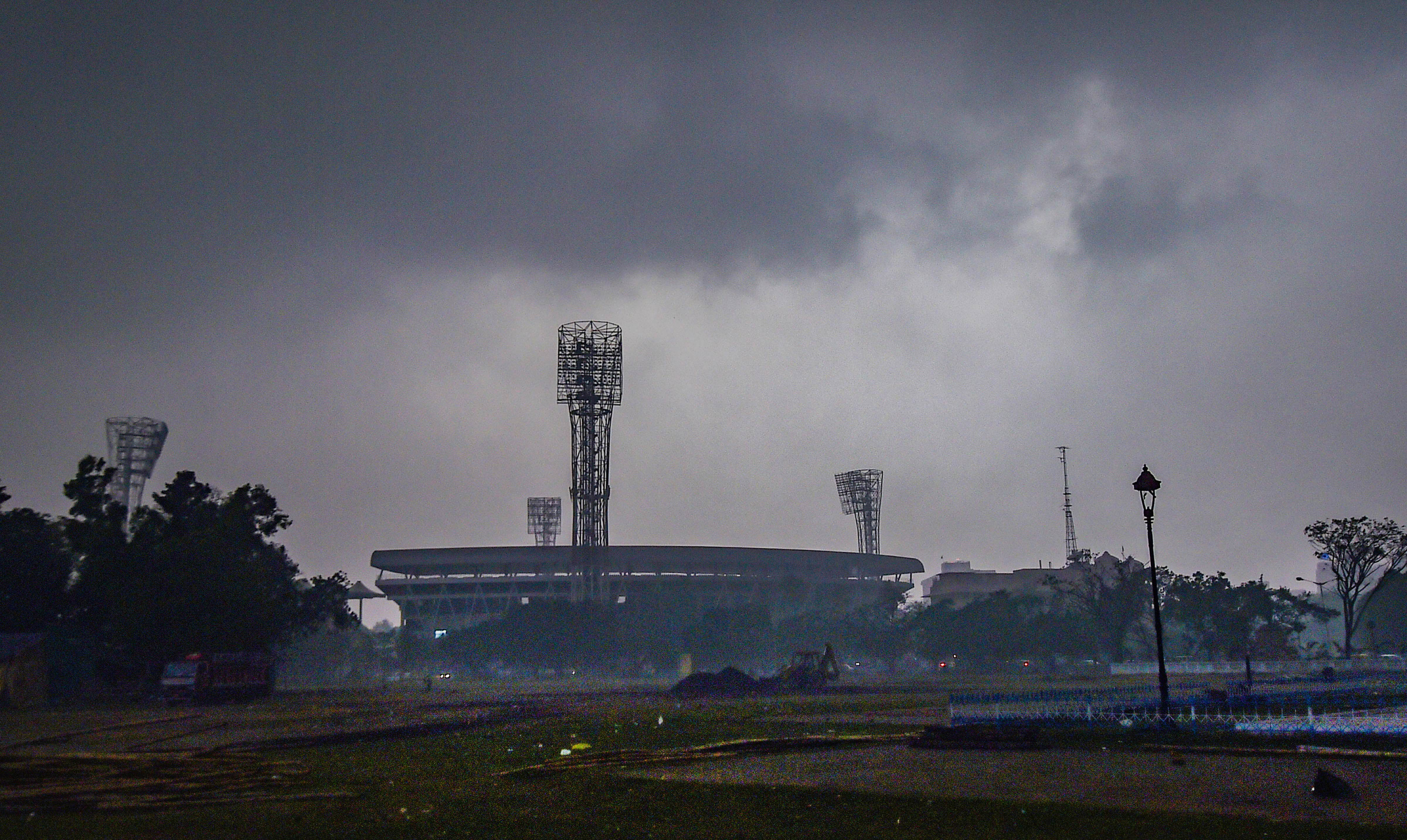 Dark clouds over Eden Garden in Kolkata on Thursday