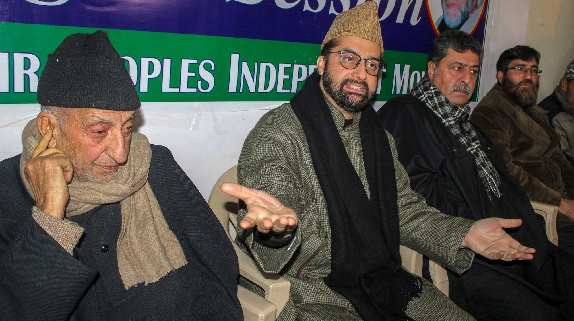 Moderate Hurriyat Chairman Mirwaiz Umar Farooq (second from left) and party executive leaders Abdul Gani Bhat and Bilal Lone during a press conference, in Srinagar on Wednesday, January 30, 2019.