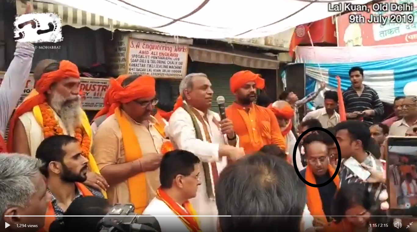 (In circle) BJP MP Vijay Goel at the VHP meeting in Old Delhi on July 9.