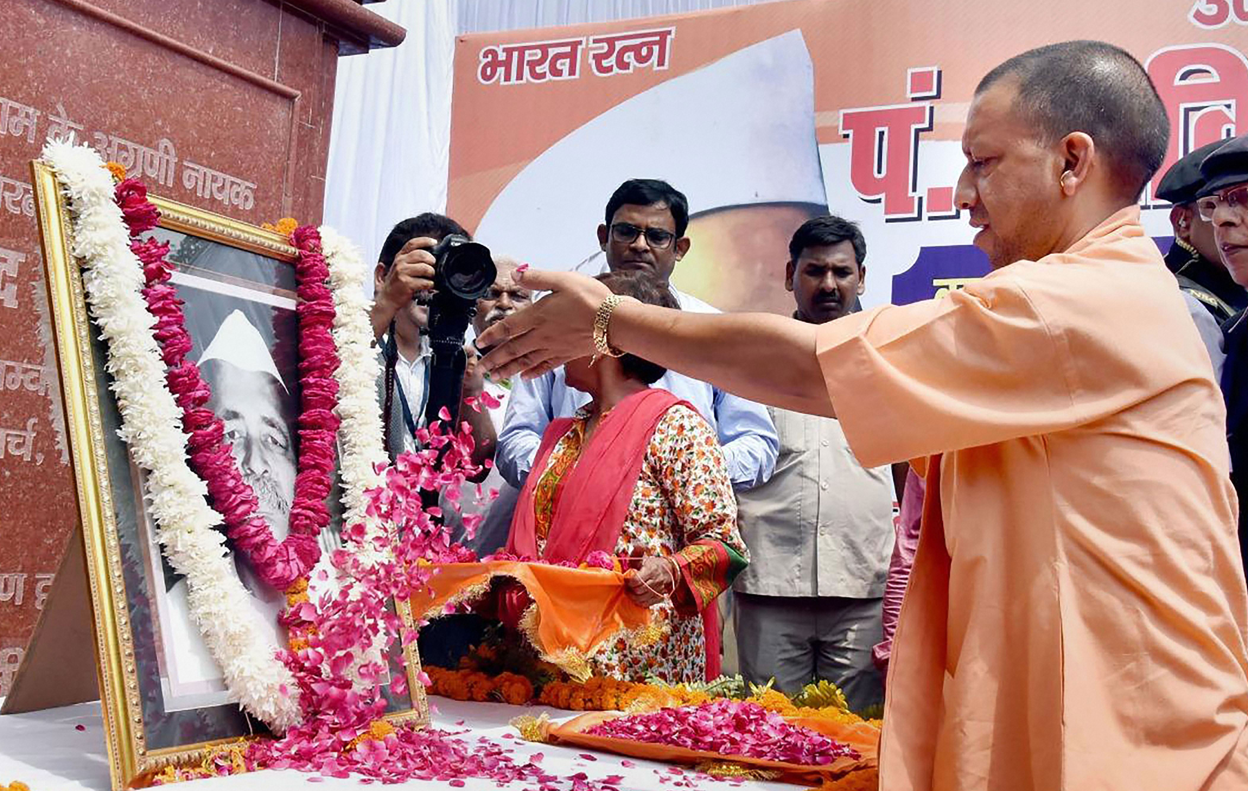 Yogi Adityanath pays tribute to Pt. Govind Ballabh Pant on his birth anniversary in Lucknow on September 10, 2019.