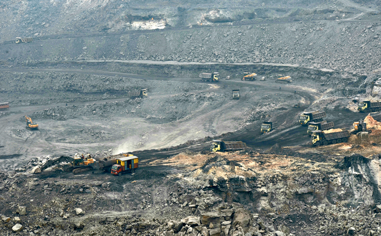 SWIRLING WORRIES: An open-cast mine of Bharat Coking Coal Limited in Jharia, Dhanbad, on Sunday.