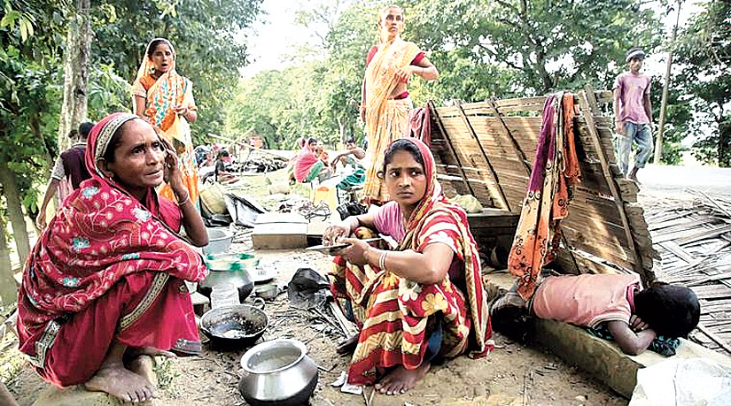 Evicted forest dwellers in Assam.