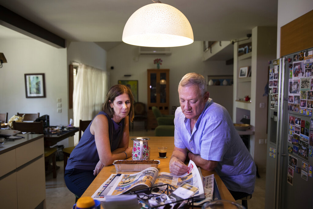 Benny Gantz and his wife Revital in their home in Rosh Haayin