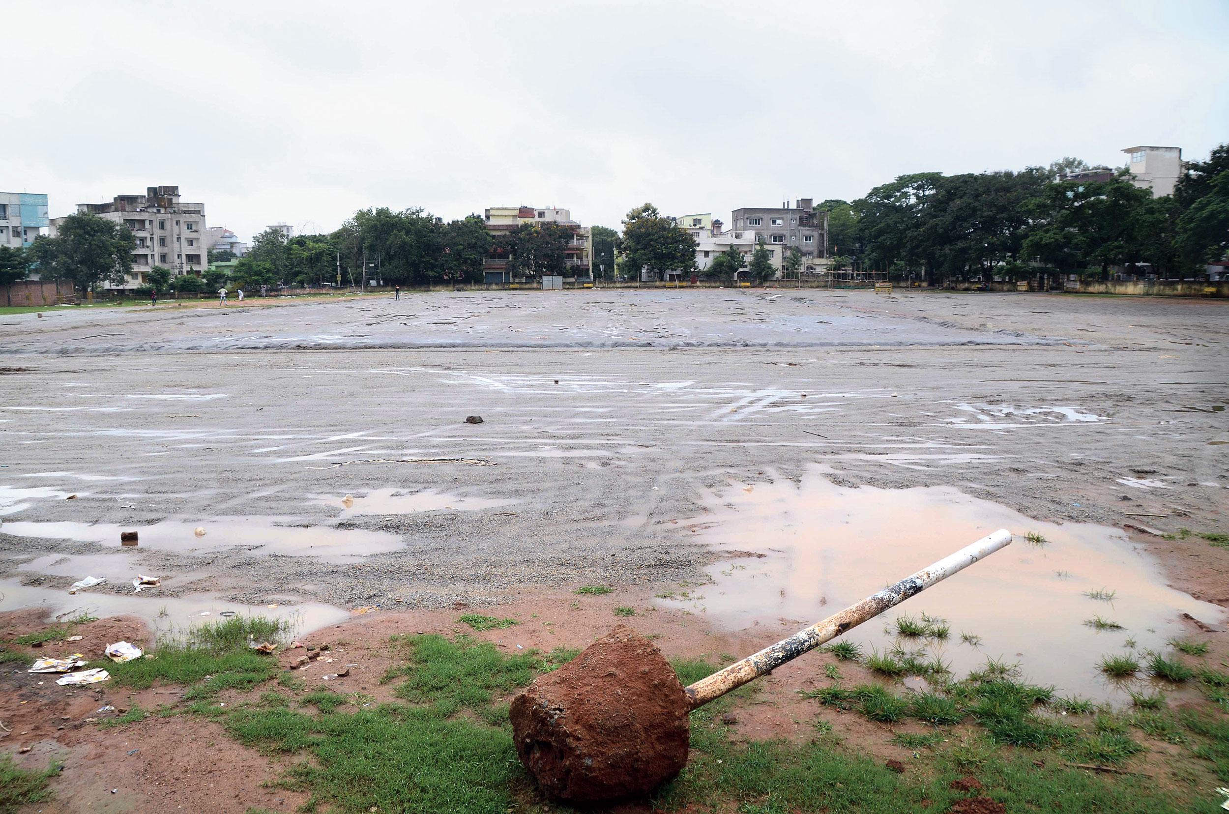 The broken goalpost at Harmu Ground in Ranchi on Wednesday.