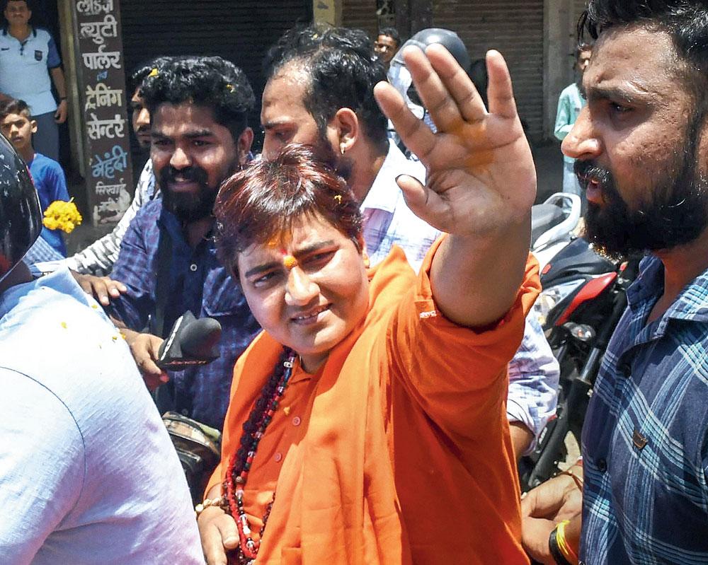 Pragya Singh Thakur during a rally in Bhopal on Wednesday