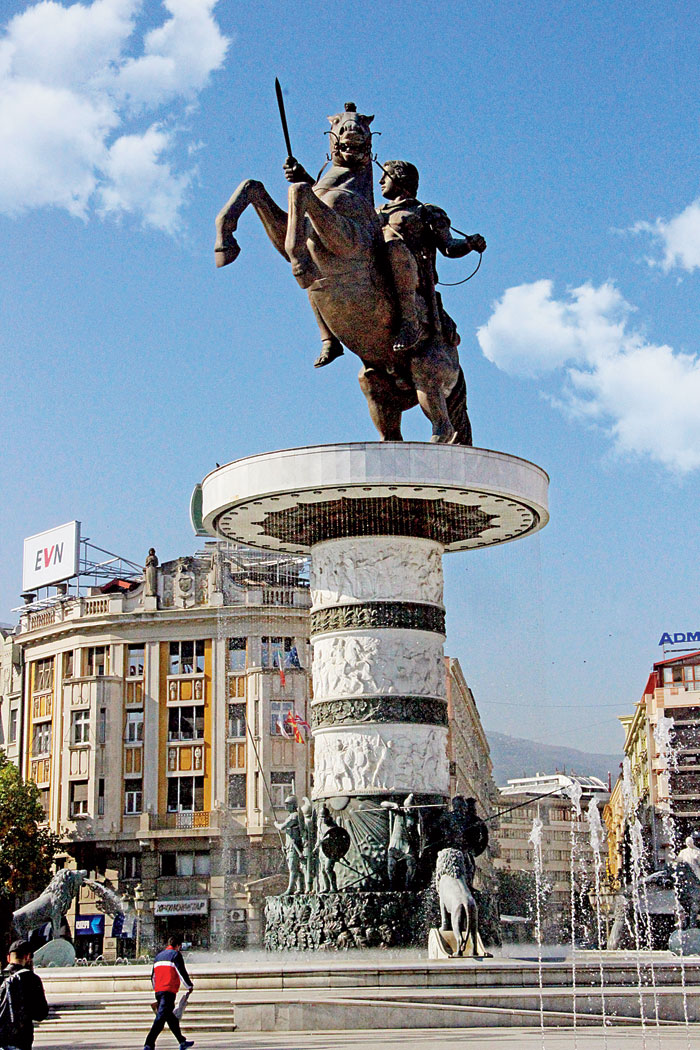 The statue of Alexander the Great is the focal point of Macedonia Square in Skopje
