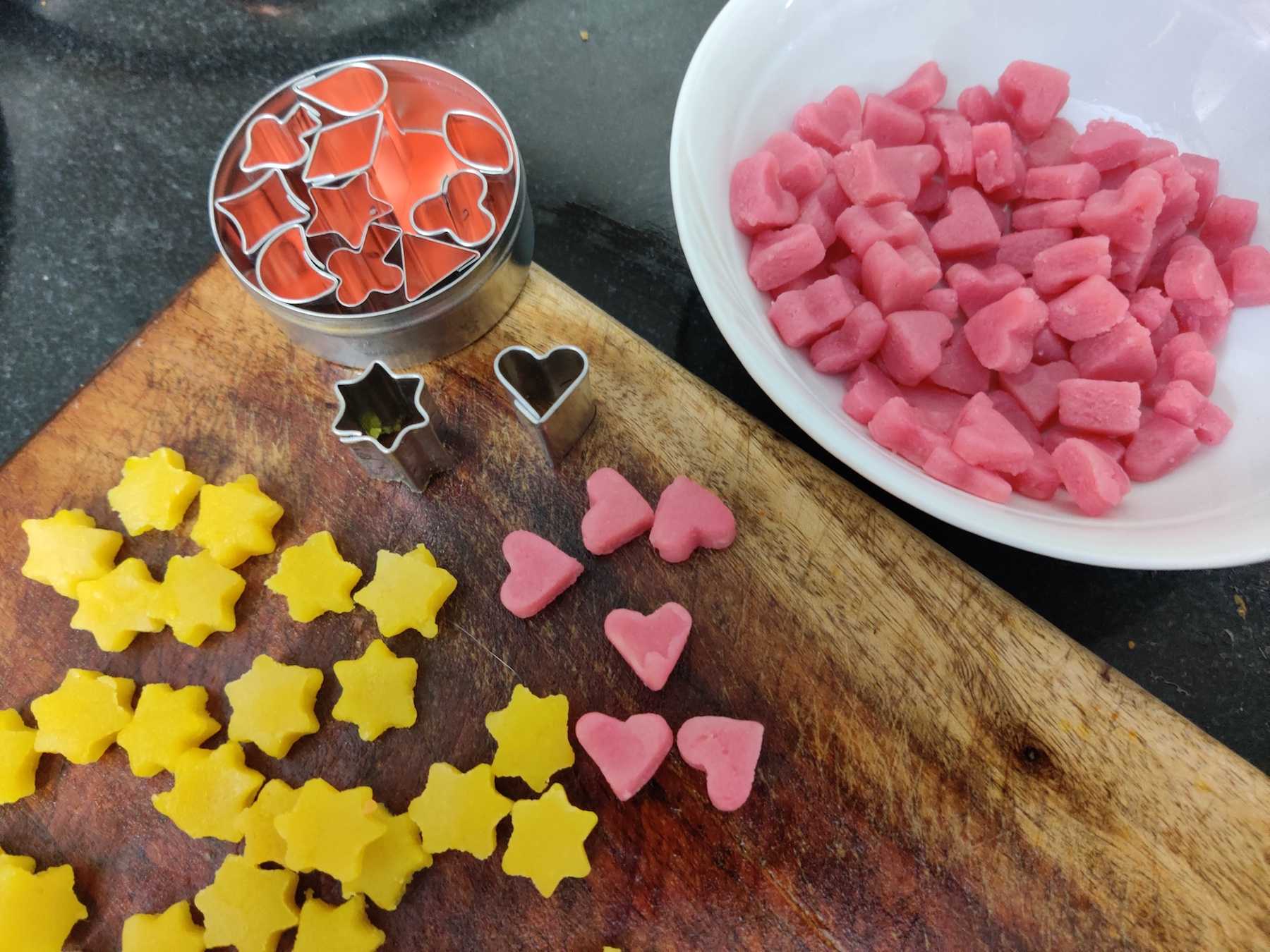 Marzipan shaped with tiny cutters