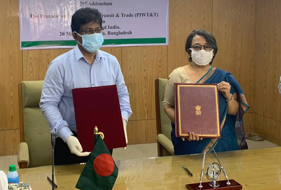 The second addendum to the protocol was signed between Indian high commissioner Riva Ganguly Das and Bangladesh shipping secretary Md Mezbah Uddin Chowdhury at Dhaka on Wednesday.