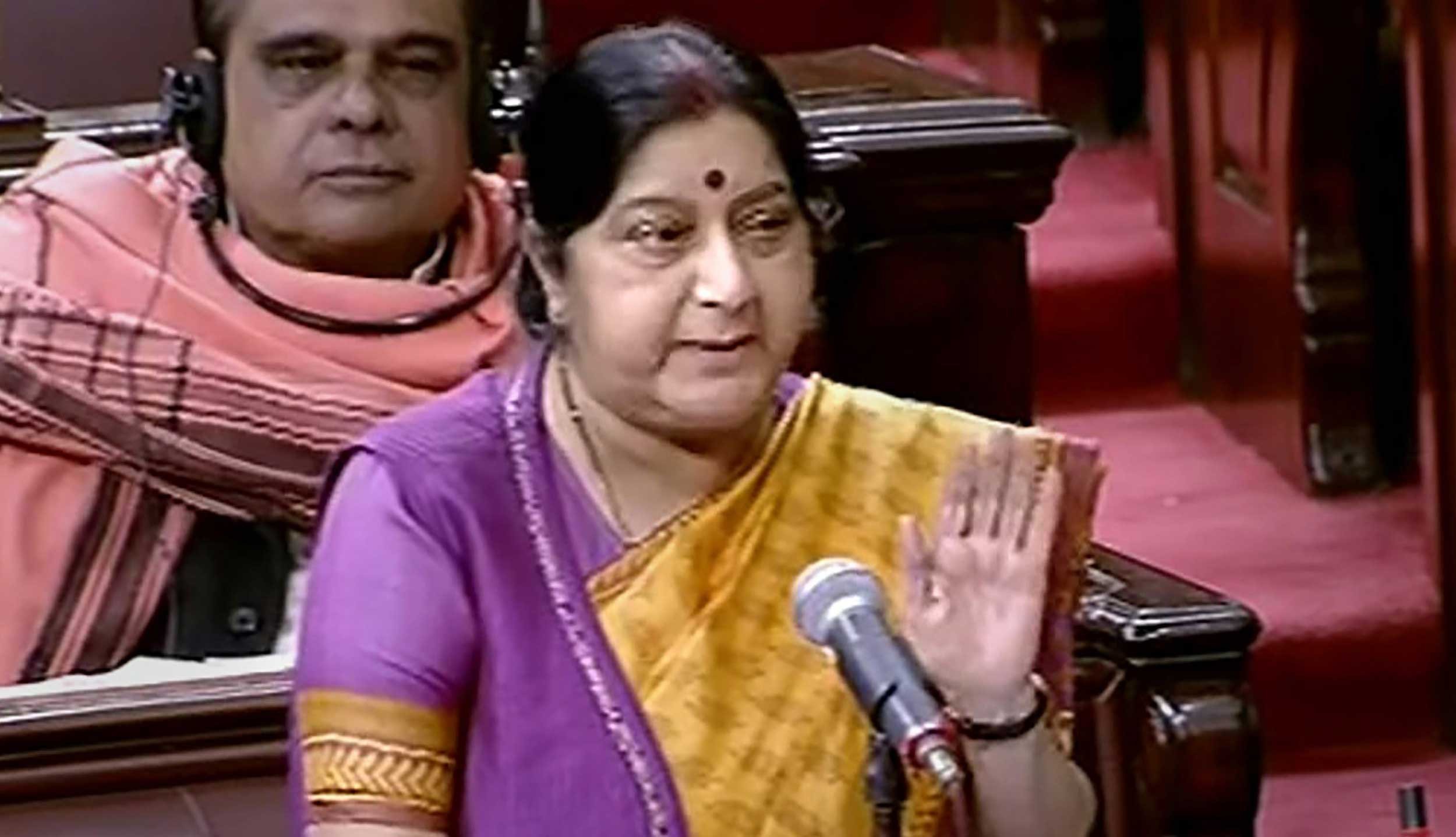 Sushma Swaraj speaks in the Rajya Sabha on Thursday.