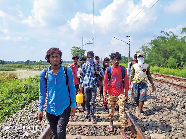 A picture sent by the group shows the migrants walking in Bihar