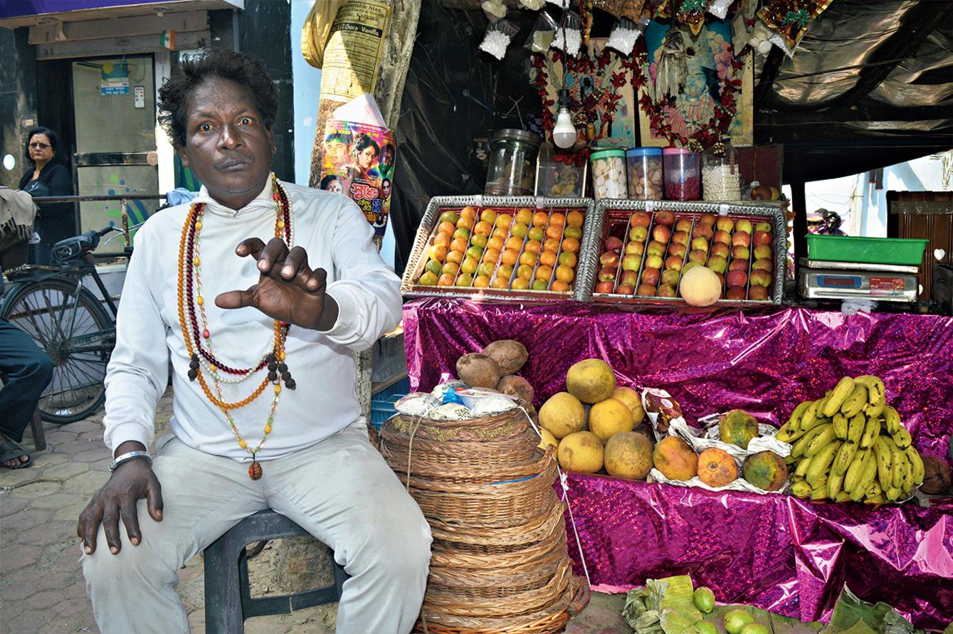 Chandi Hati at his fruit shop.