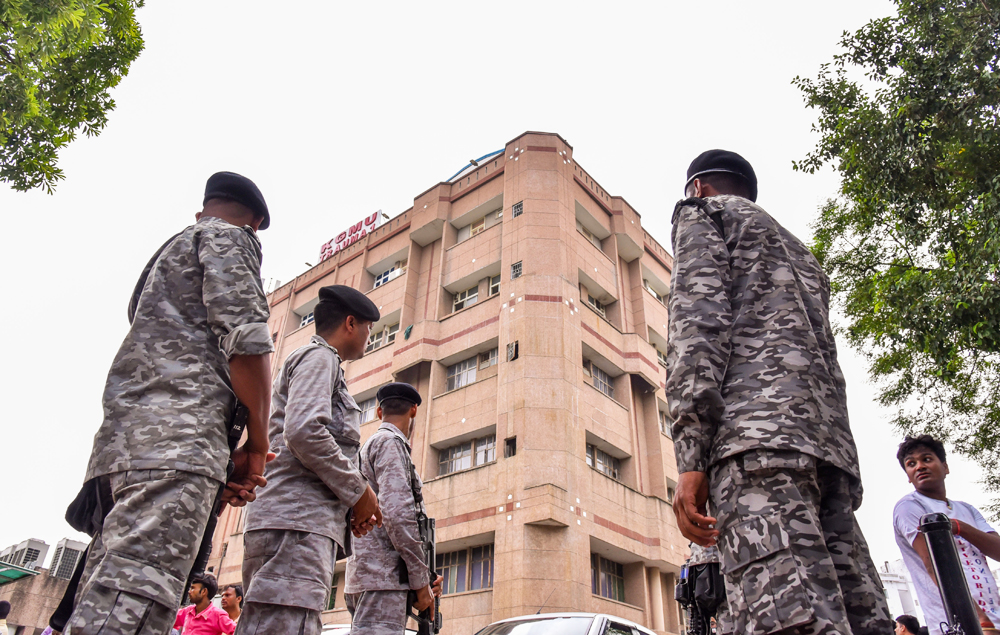 CRPF security personnel outside the trauma centre where the Unnao rape survivor is being treated, in Lucknow on Friday, Aug 2, 2019.