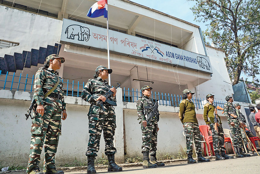 Security personnel guard the AGP office in Guwahati on Tuesday after party members, who oppose the citizenship act, including senior leader and former chief minister Prafulla Kumar Mahanta, were barred from holding a meeting there