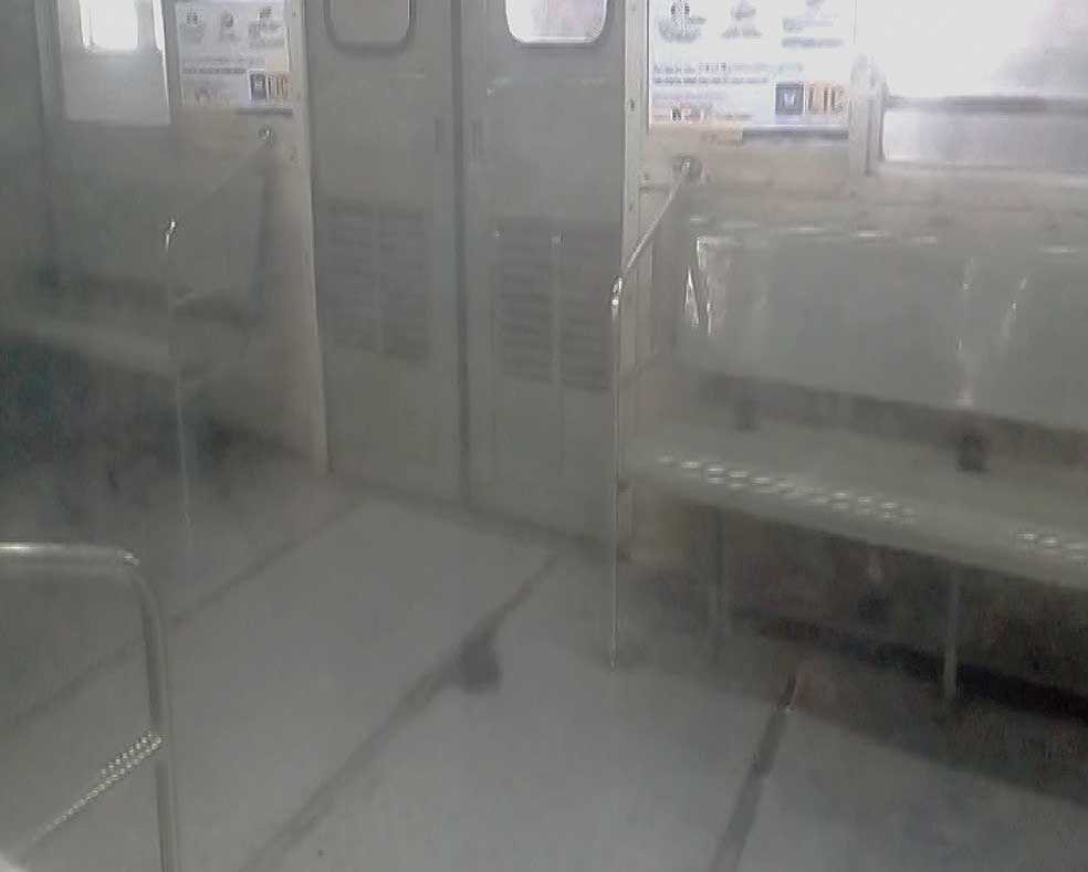 The smoke-filled coach at Dum Dum station on Thursday morning.